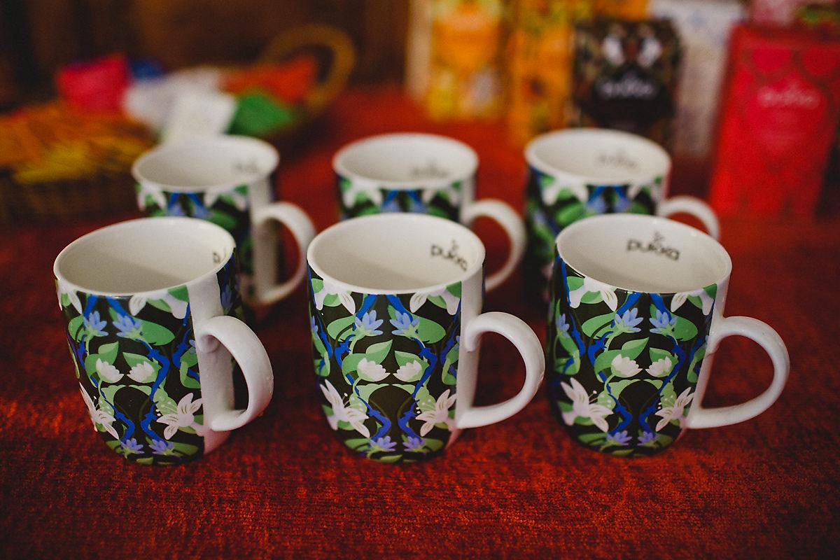 Pukka tea cups at yoga retreat