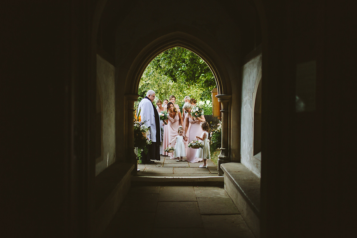 Arrival of the bride in Chenies Church