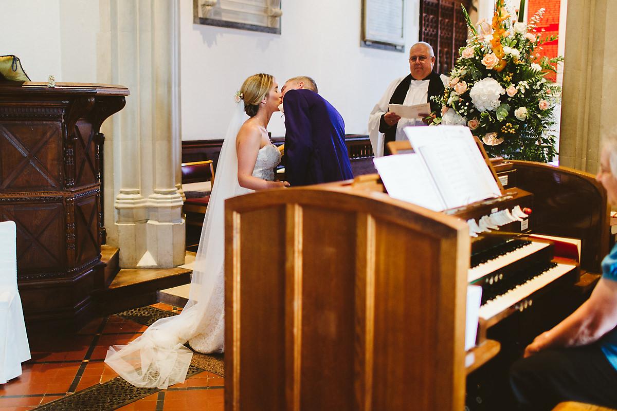 Chenies church wedding first kiss
