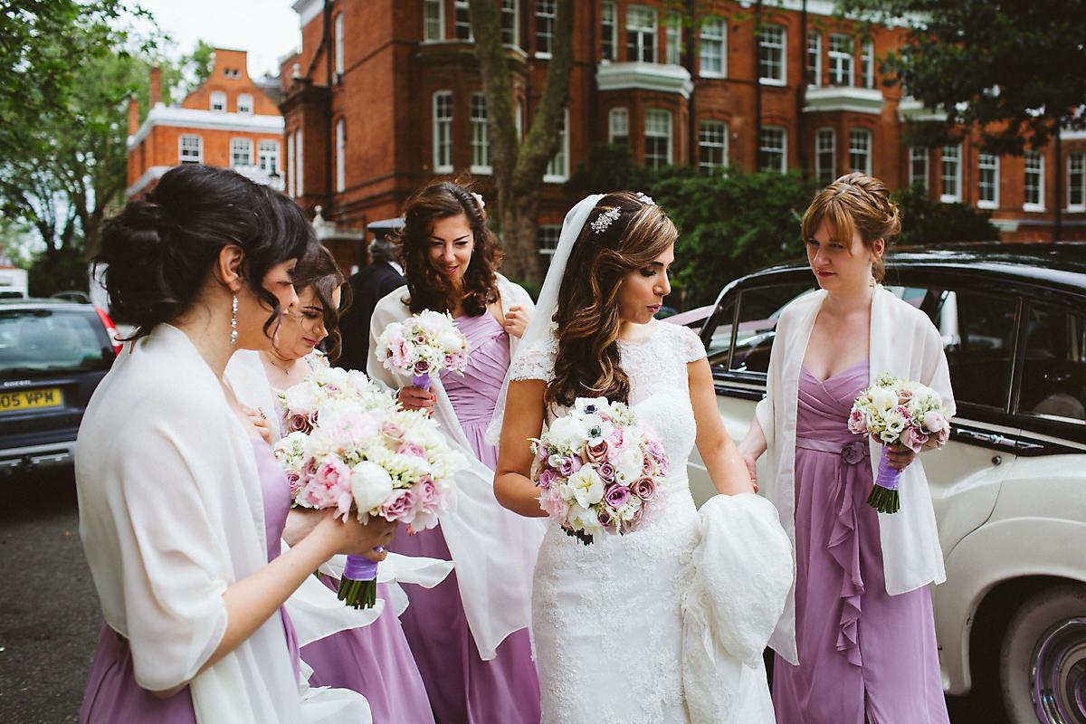 Bride arrives Armenian church photography