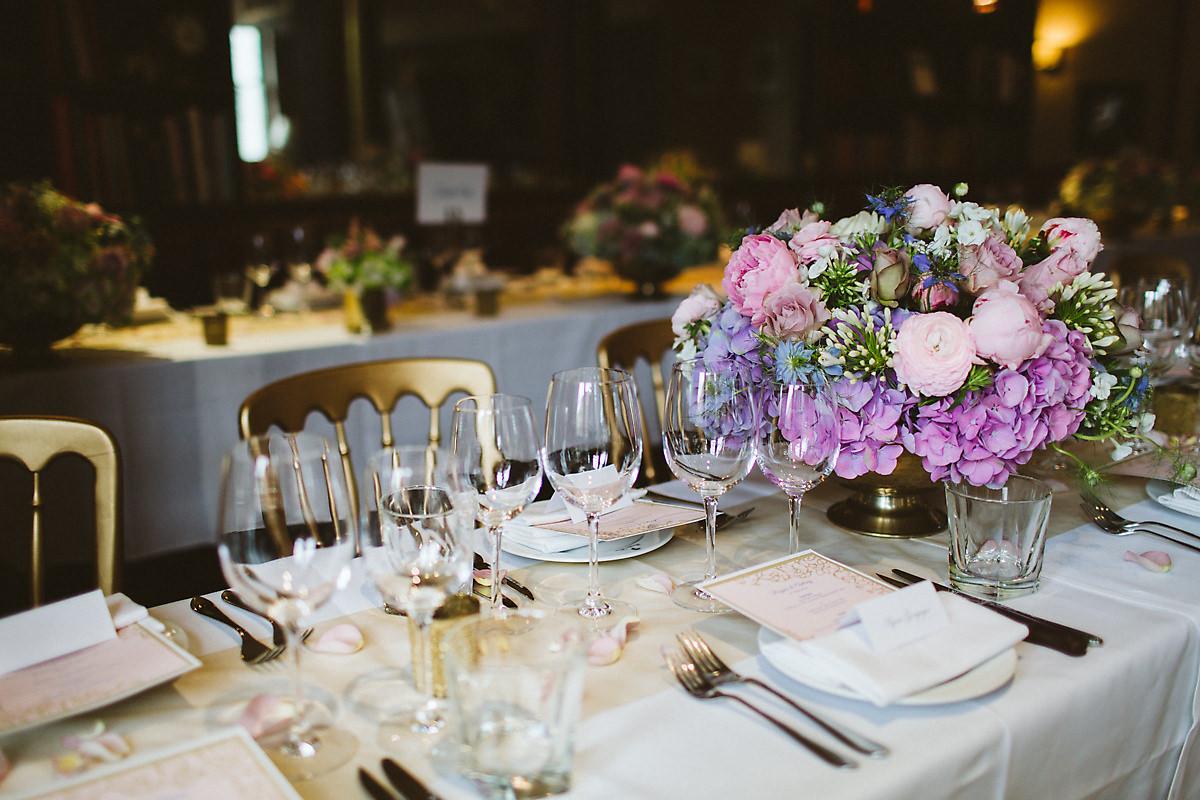 London Beaufort House Wedding Reception table decorations