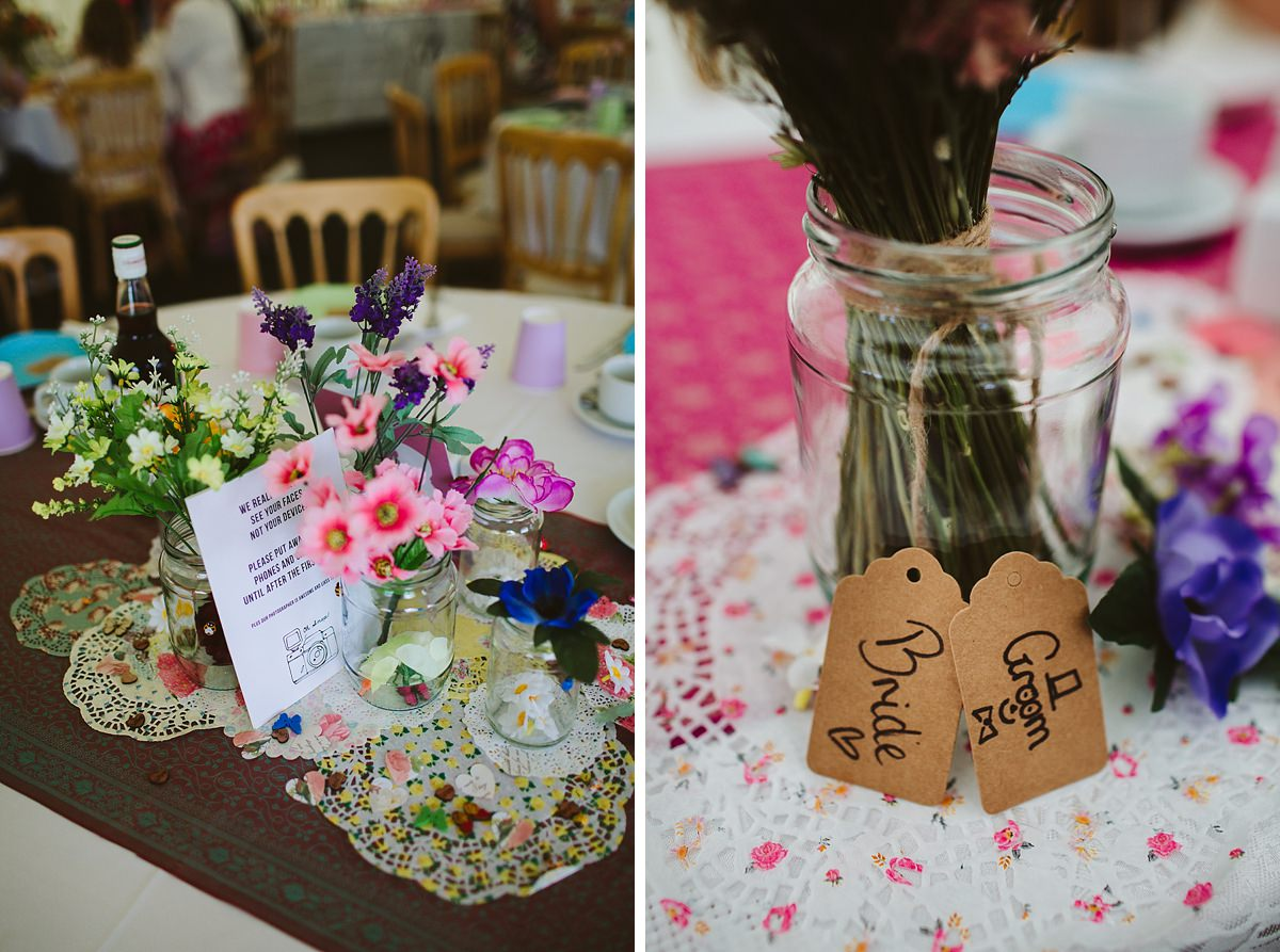 Multicoloured wedding table decorations