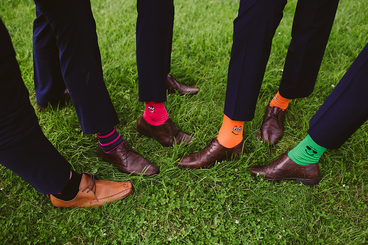 Multicoloured groomsmen socks ideas
