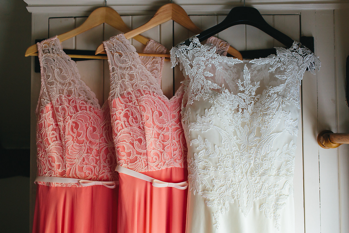 Pink and white lace bridesmaids photos