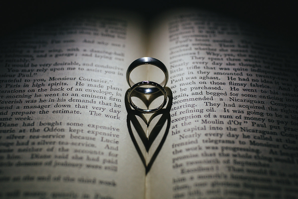 Close up wedding rings on a story book