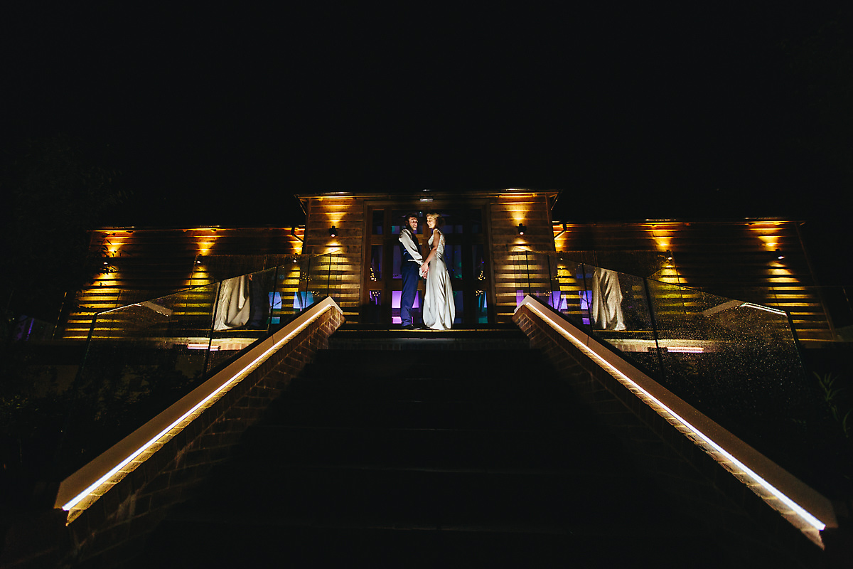 Creative night time wedding portraits