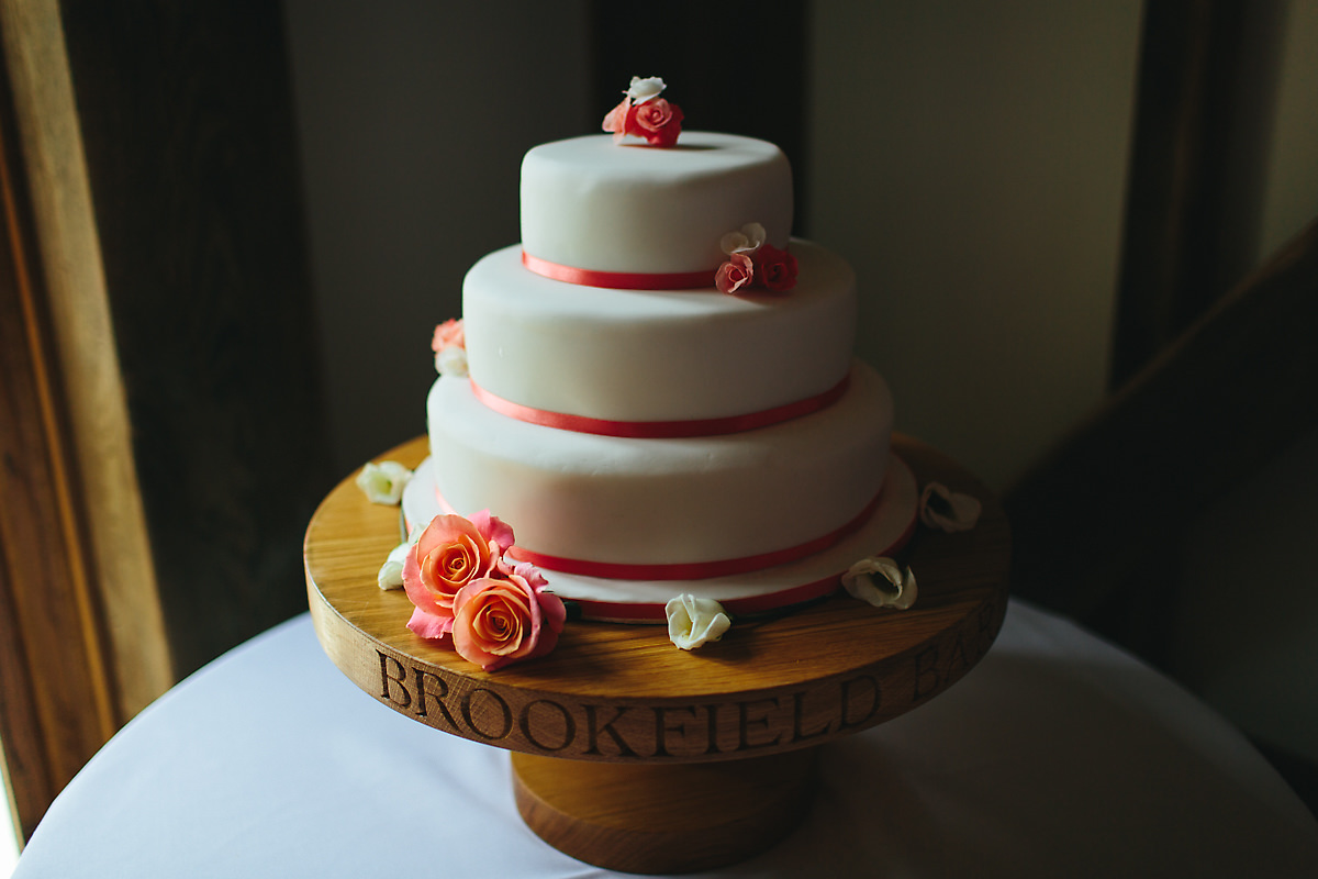 Pink and white 3 tier wedding cake