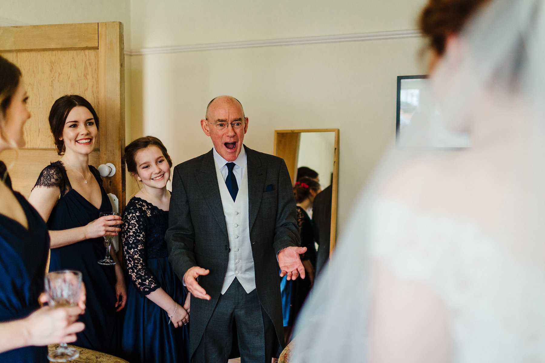 First look with father of the bride photography