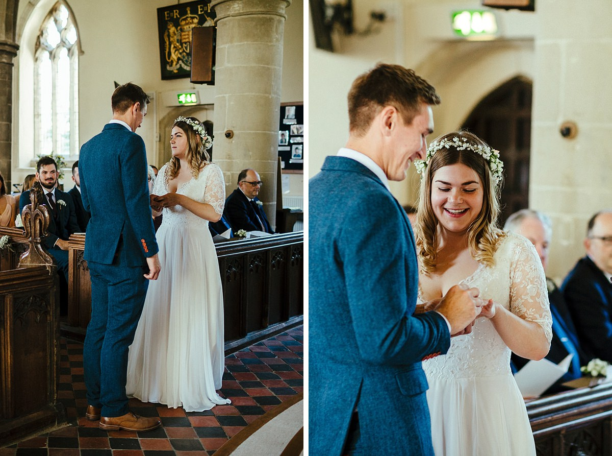 Exchange of wedding rings at St Mary's church Haddenham