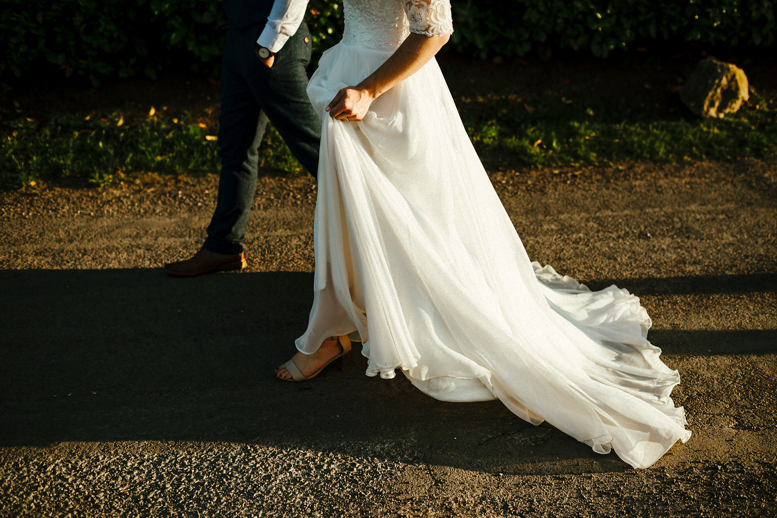 Floaty white full length wedding dress