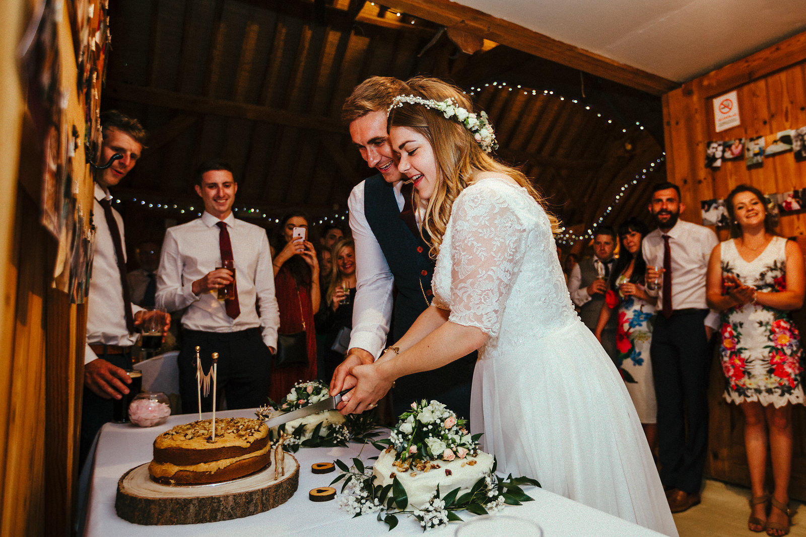 Cutting the cake at Notley Tythe Barn