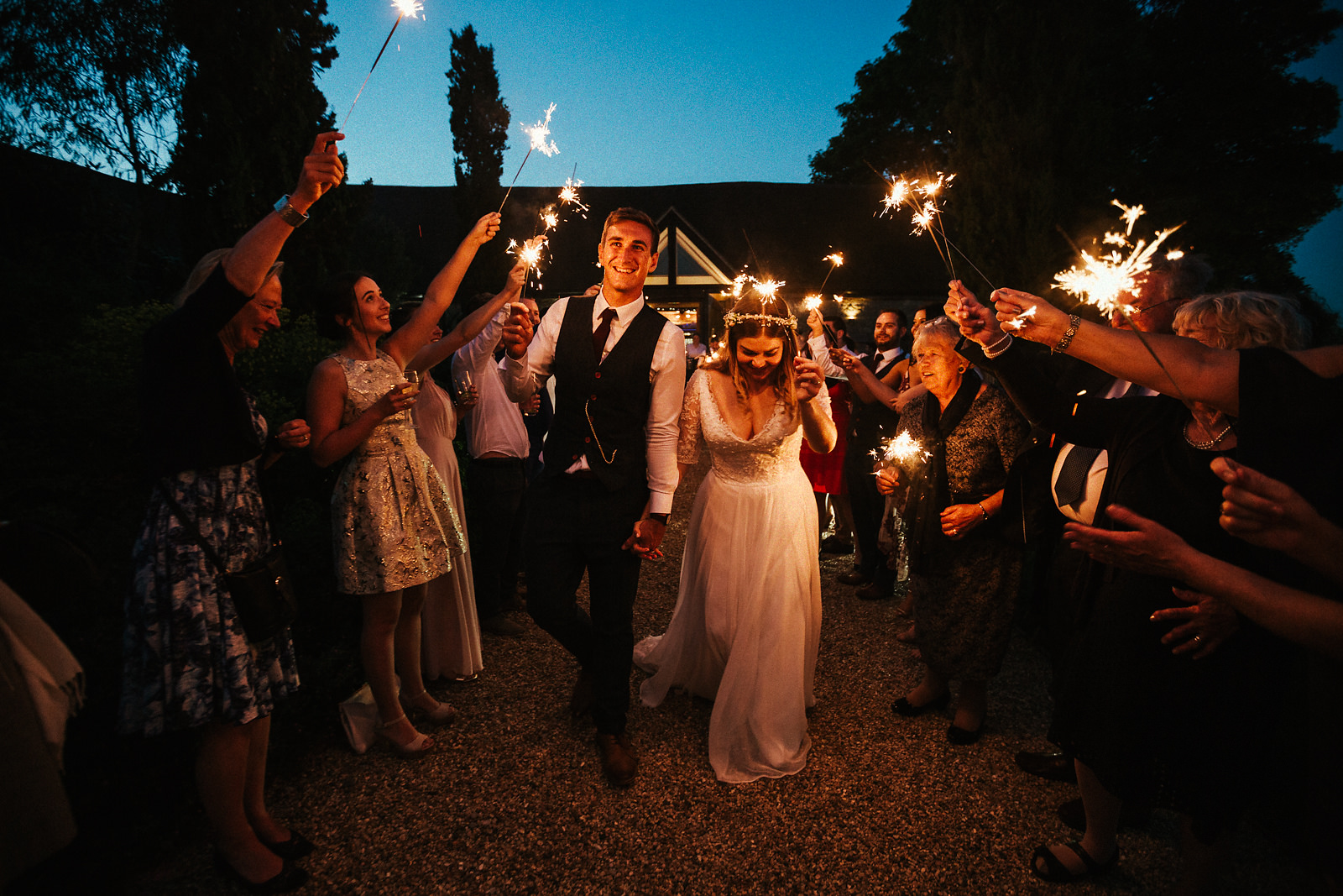 Sparklers barn wedding photography