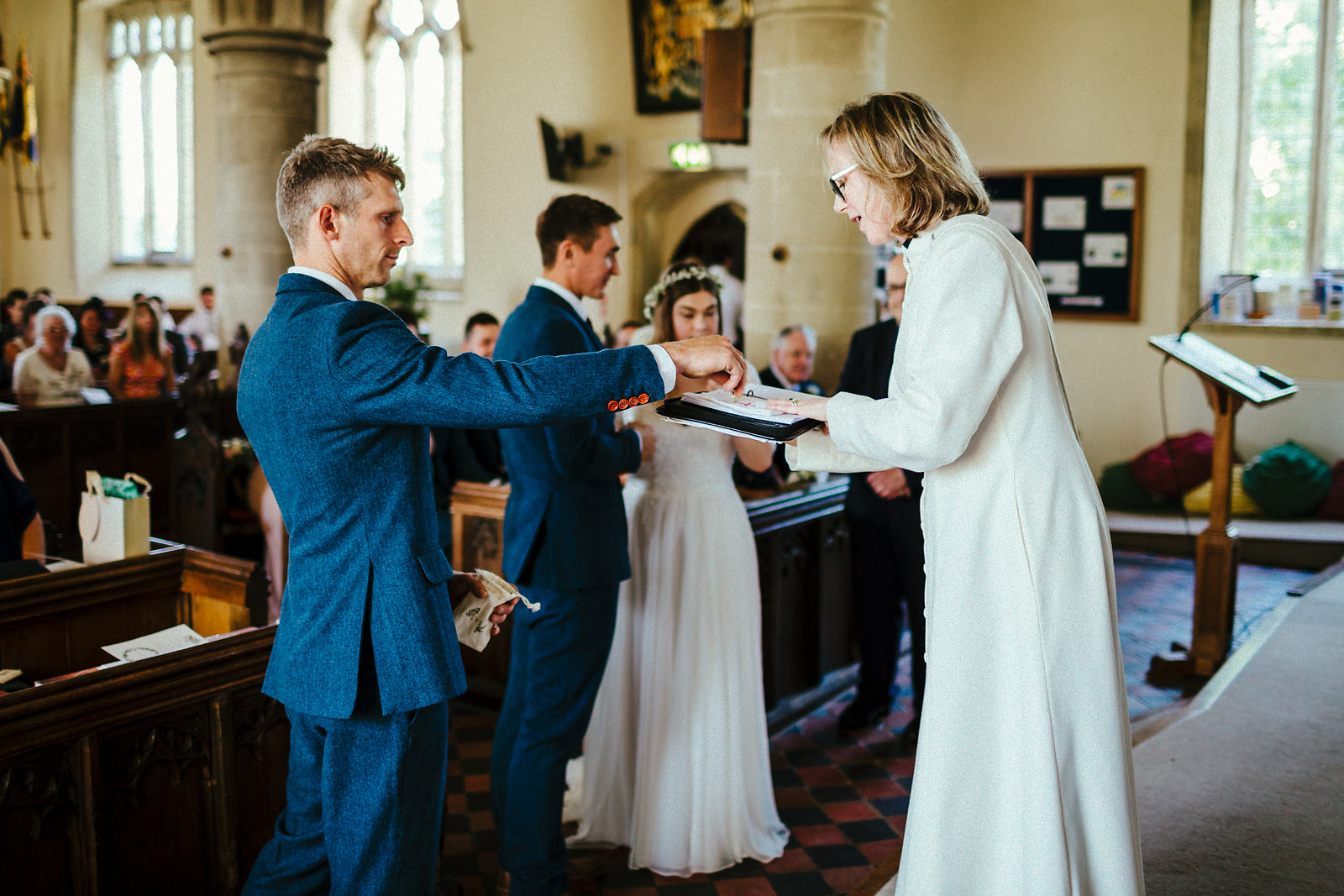 Exchange of rings at St Mary's church Haddenham