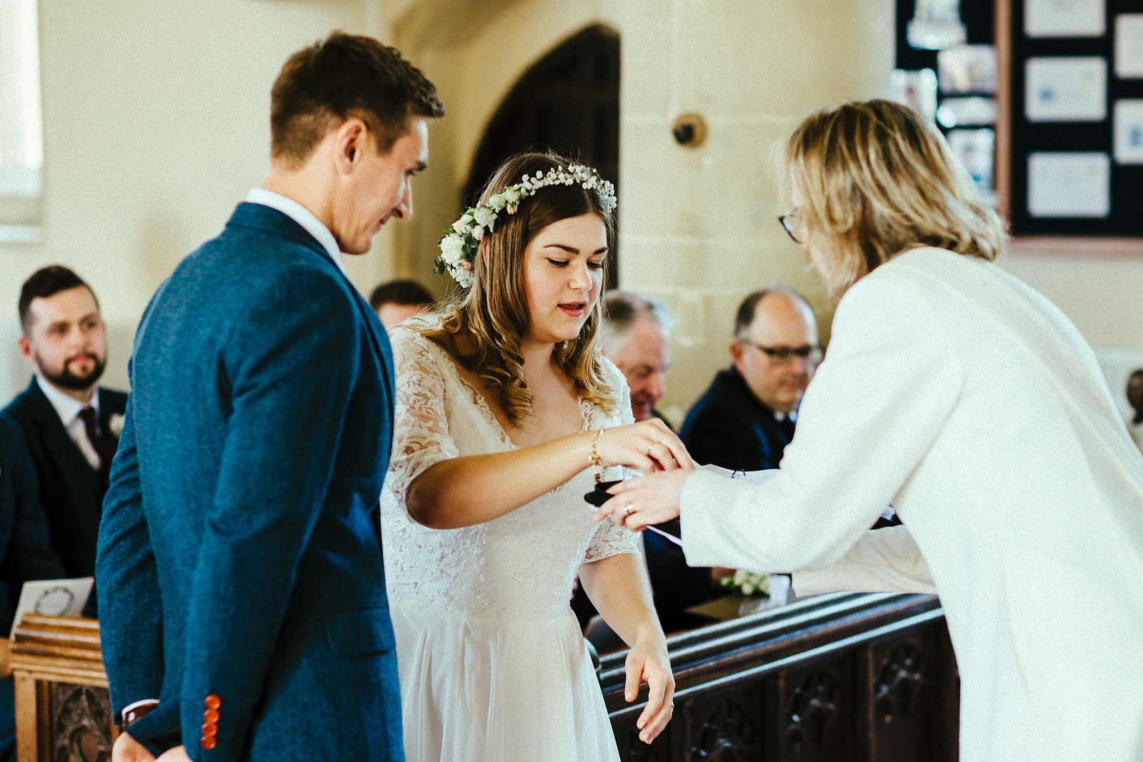 Exchange of rings at St Mary's church Haddenham photo