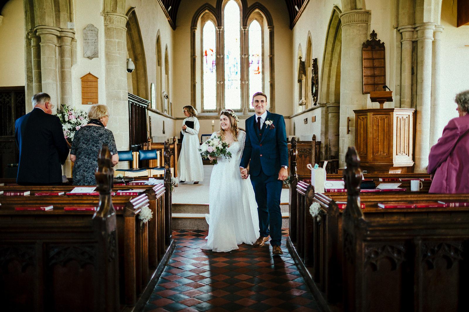 Wedding exit at Haddenham church