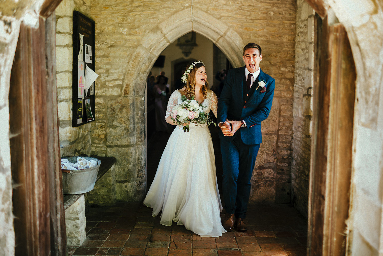 Wedding exit at Haddenham church