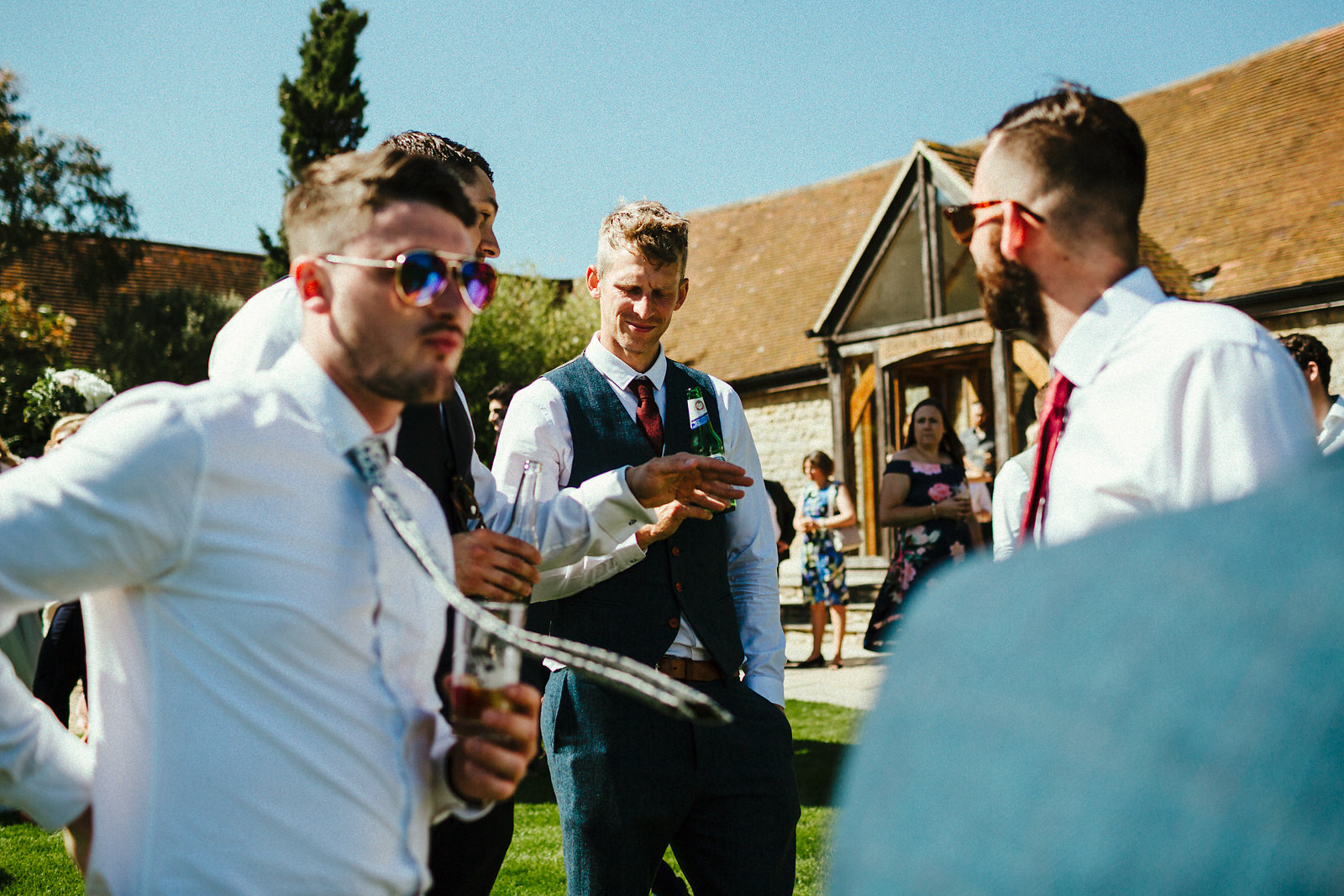 Guest mingling outside Notley Tythe Barn