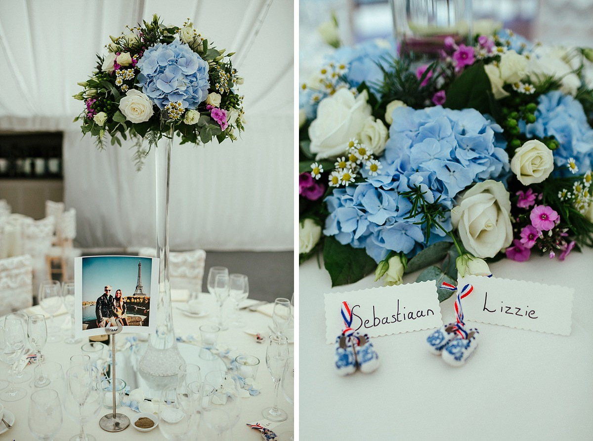 White and blue wedding decorations