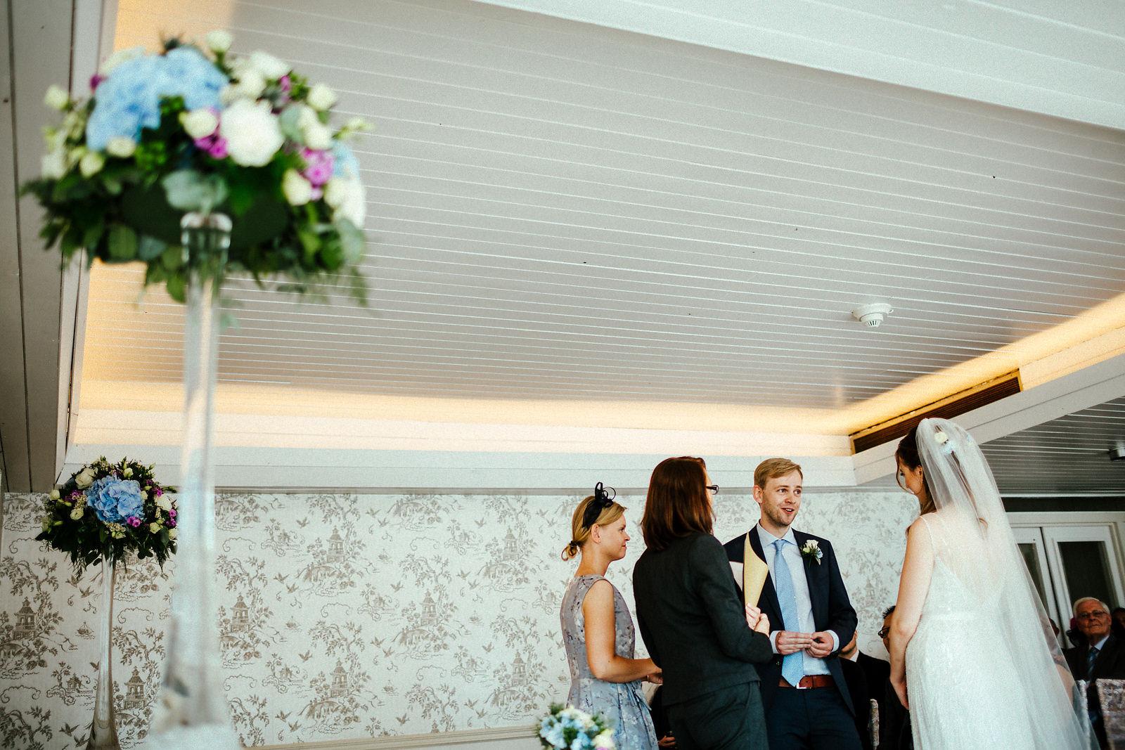 Wedding ceremony at Ravens Ait Surbiton