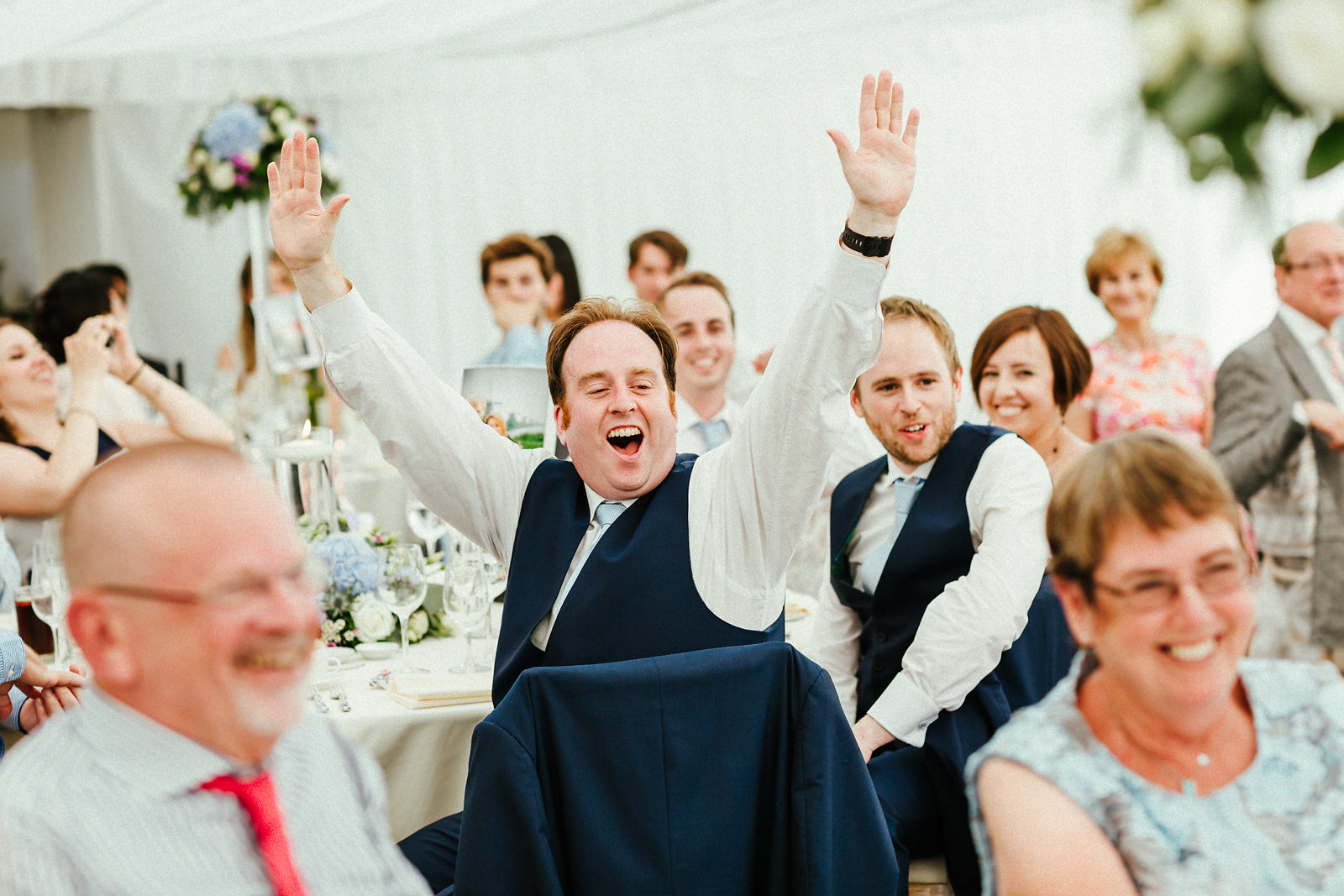 Bride's brother feeling happy photo