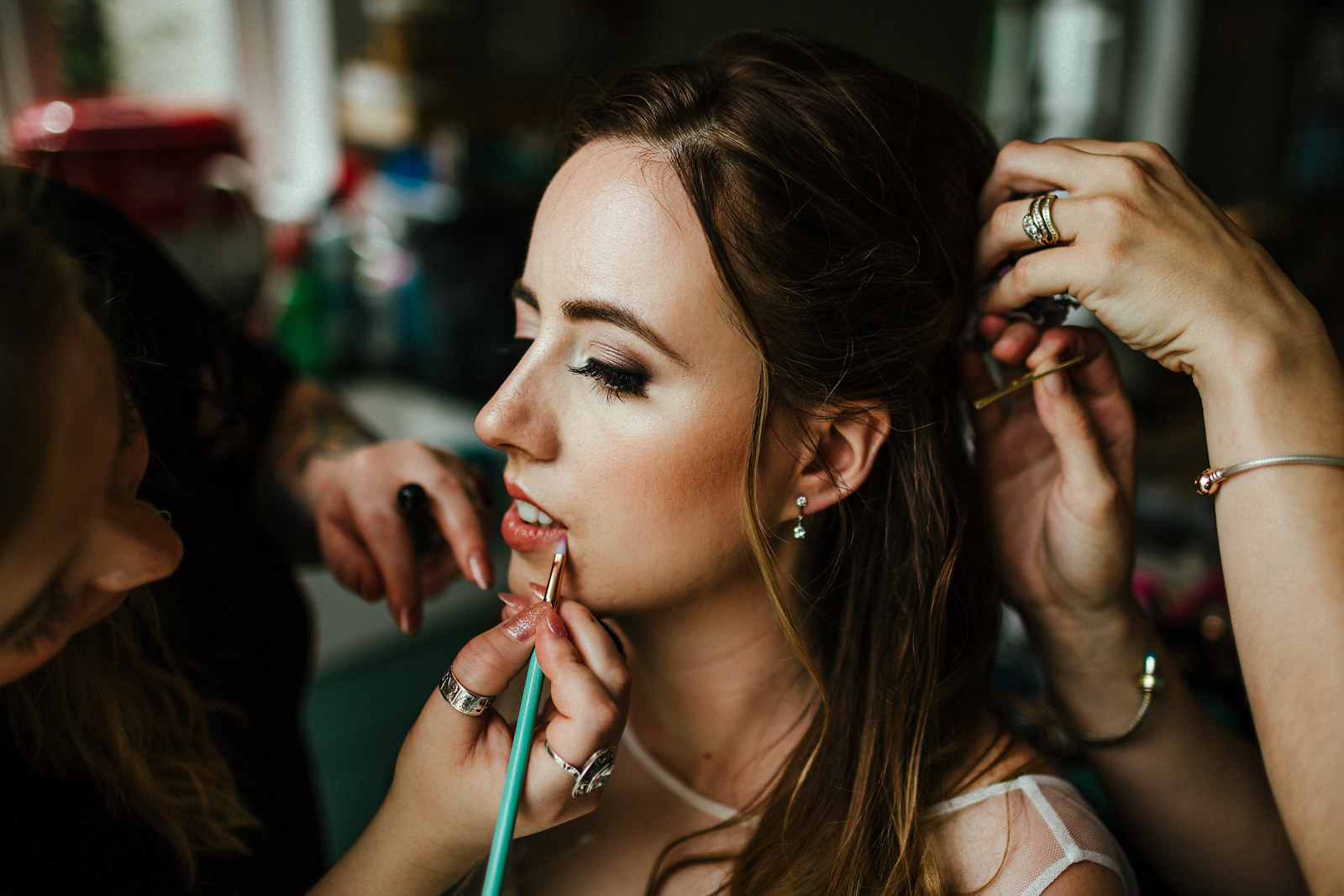 Bride getting ready for wedding day photo