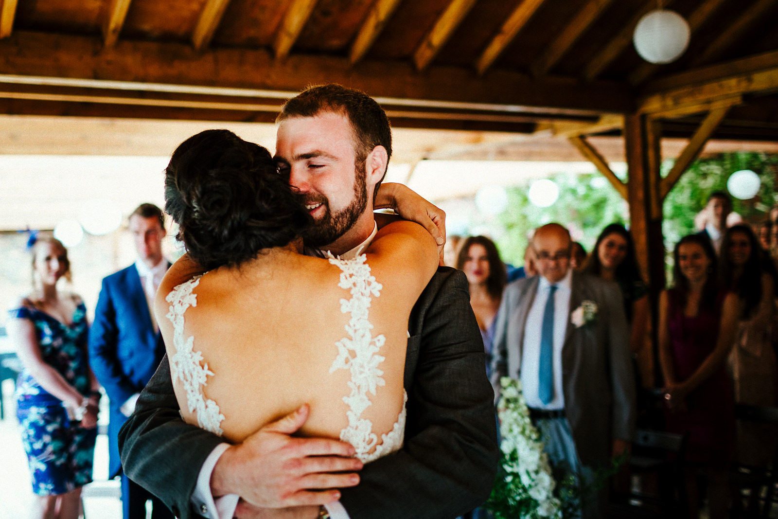 Groom meeting bride at Orchardleigh walled garden