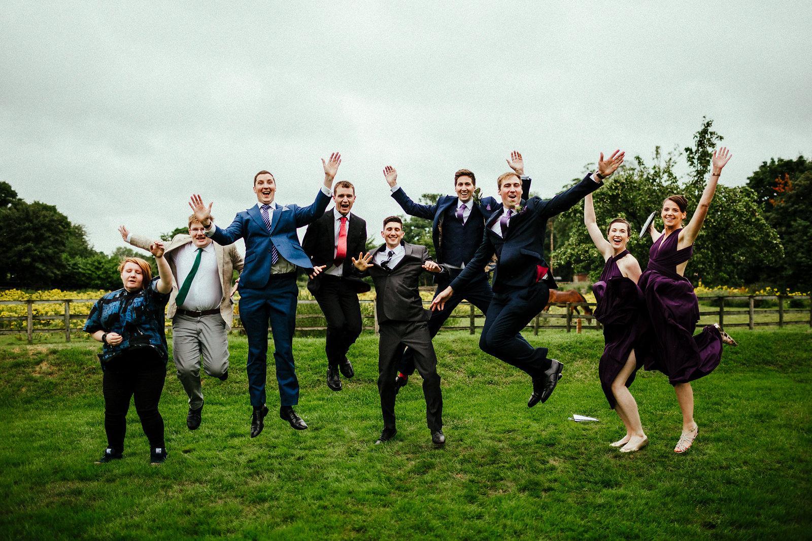 Fun wedding day group photo