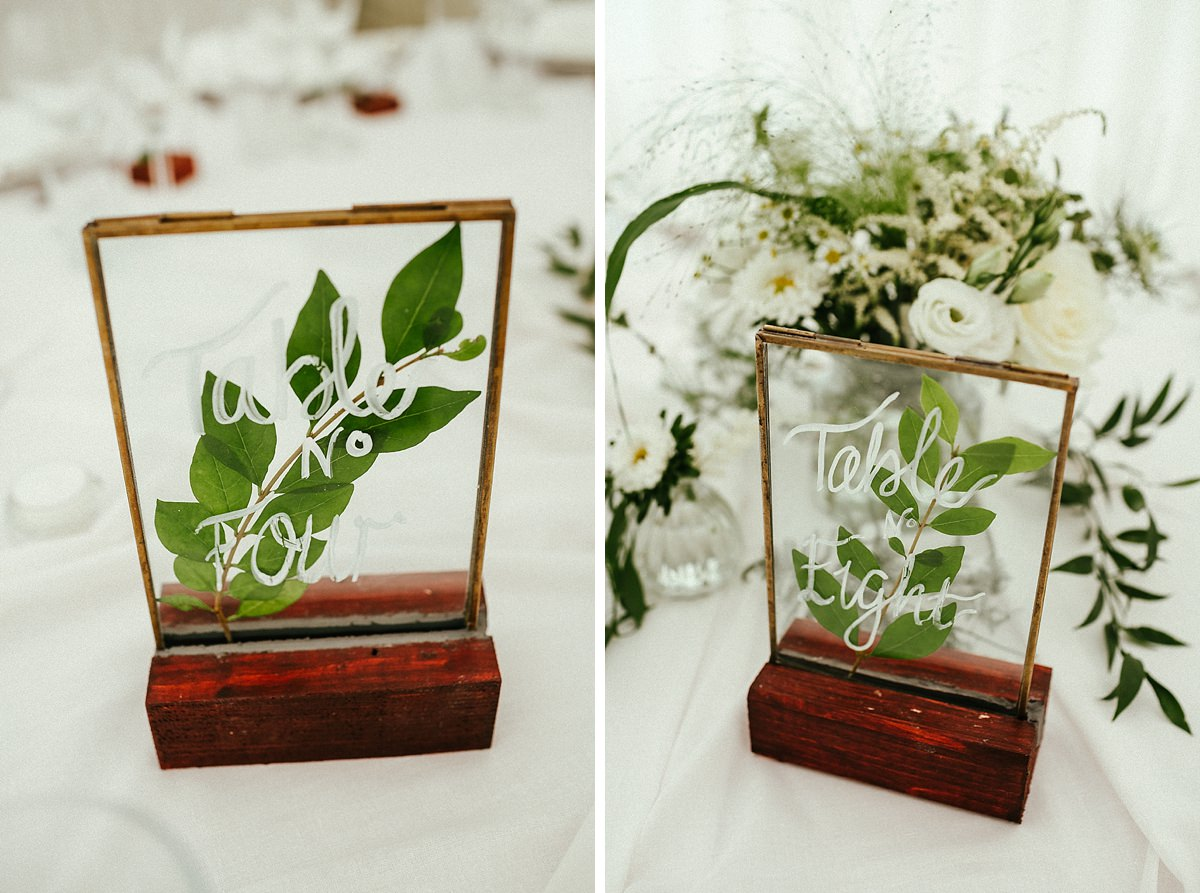 White and green rustic wedding table decorations