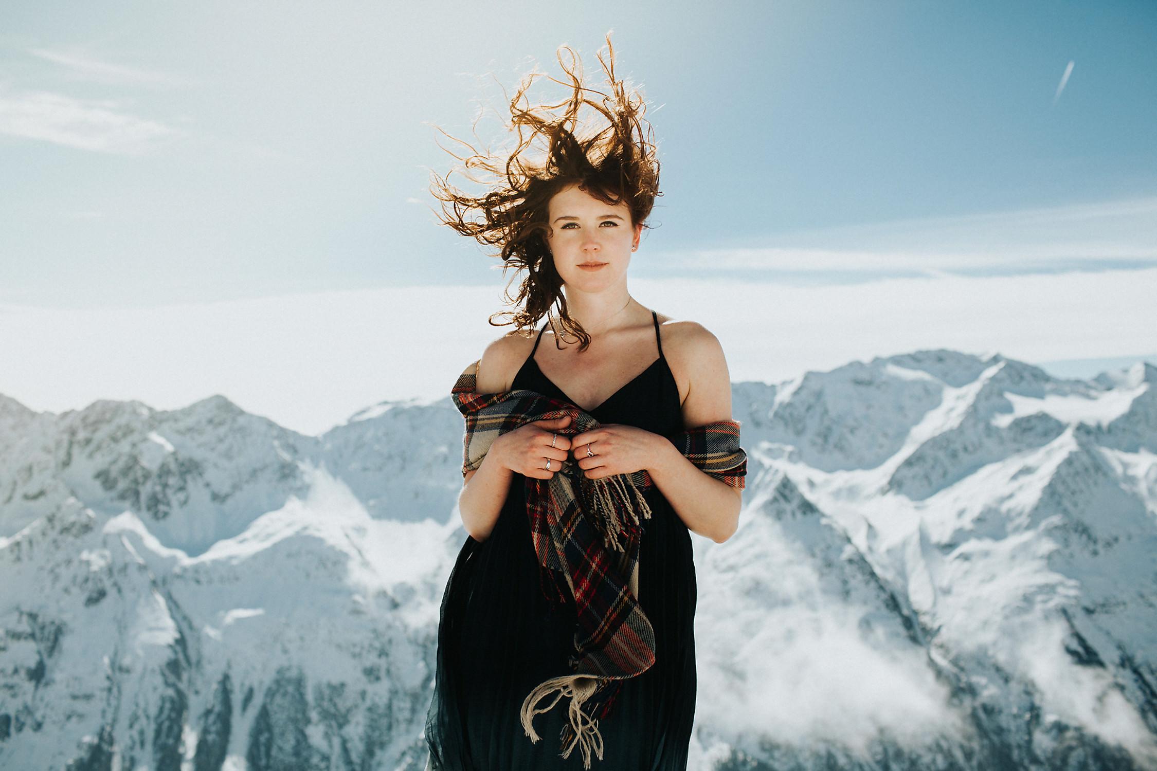 Austria female snow portrait photography
