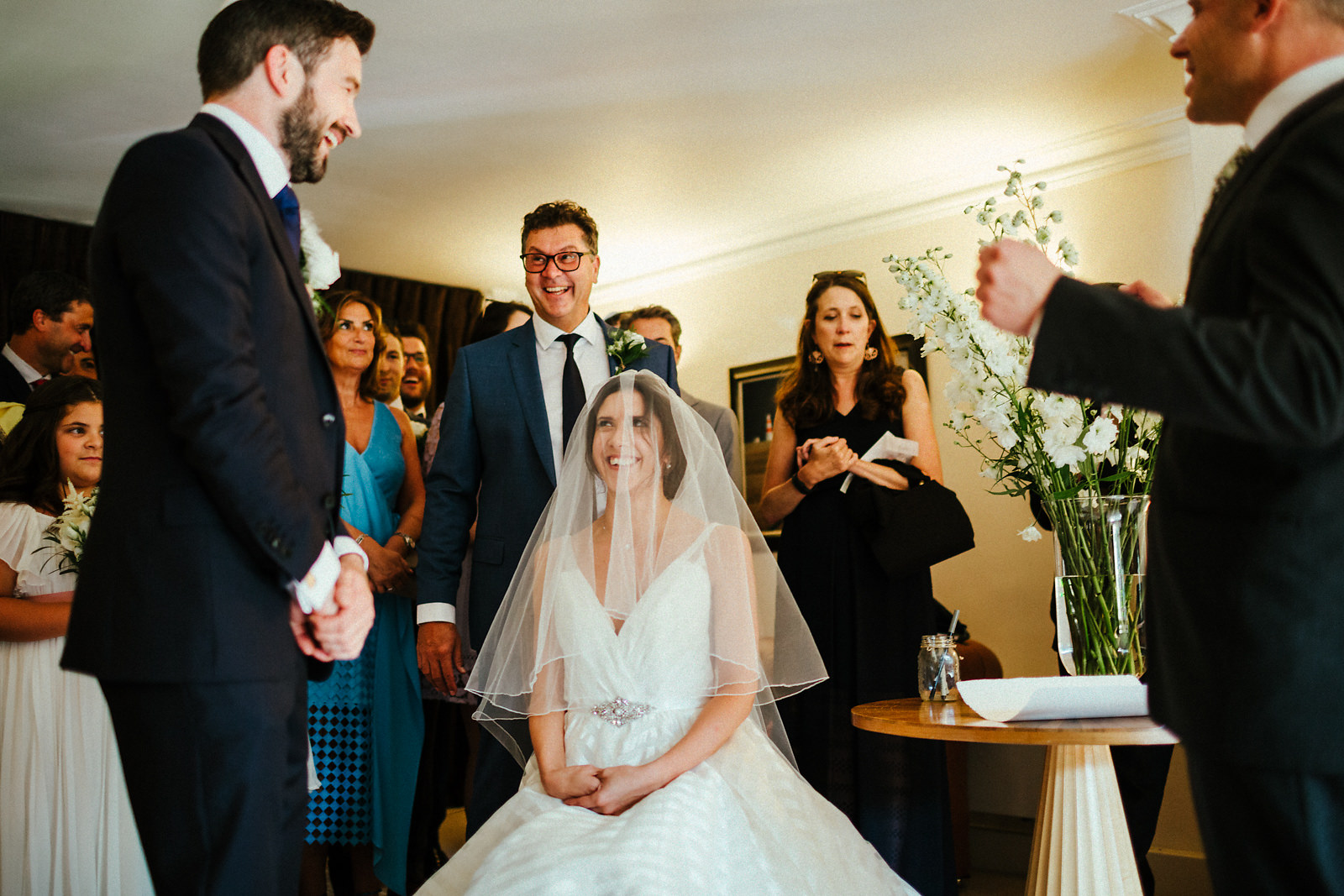 The veil ceremony at Jewish wedding in Essex