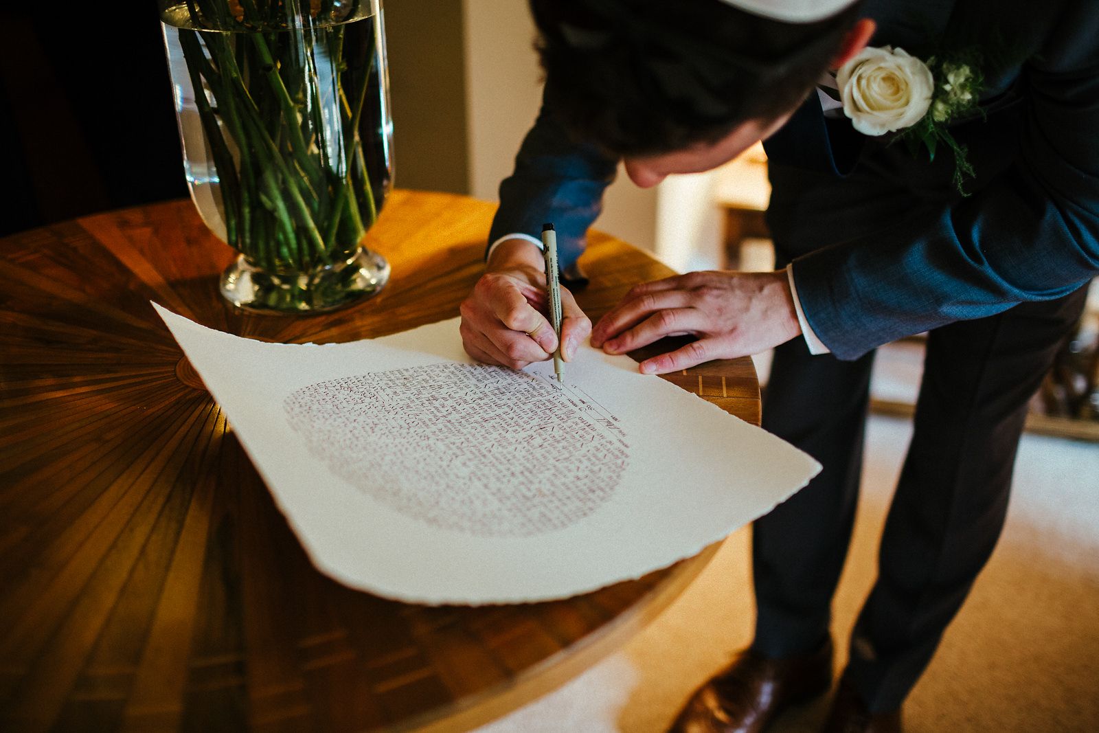 Signing of registrar book at jewish wedding