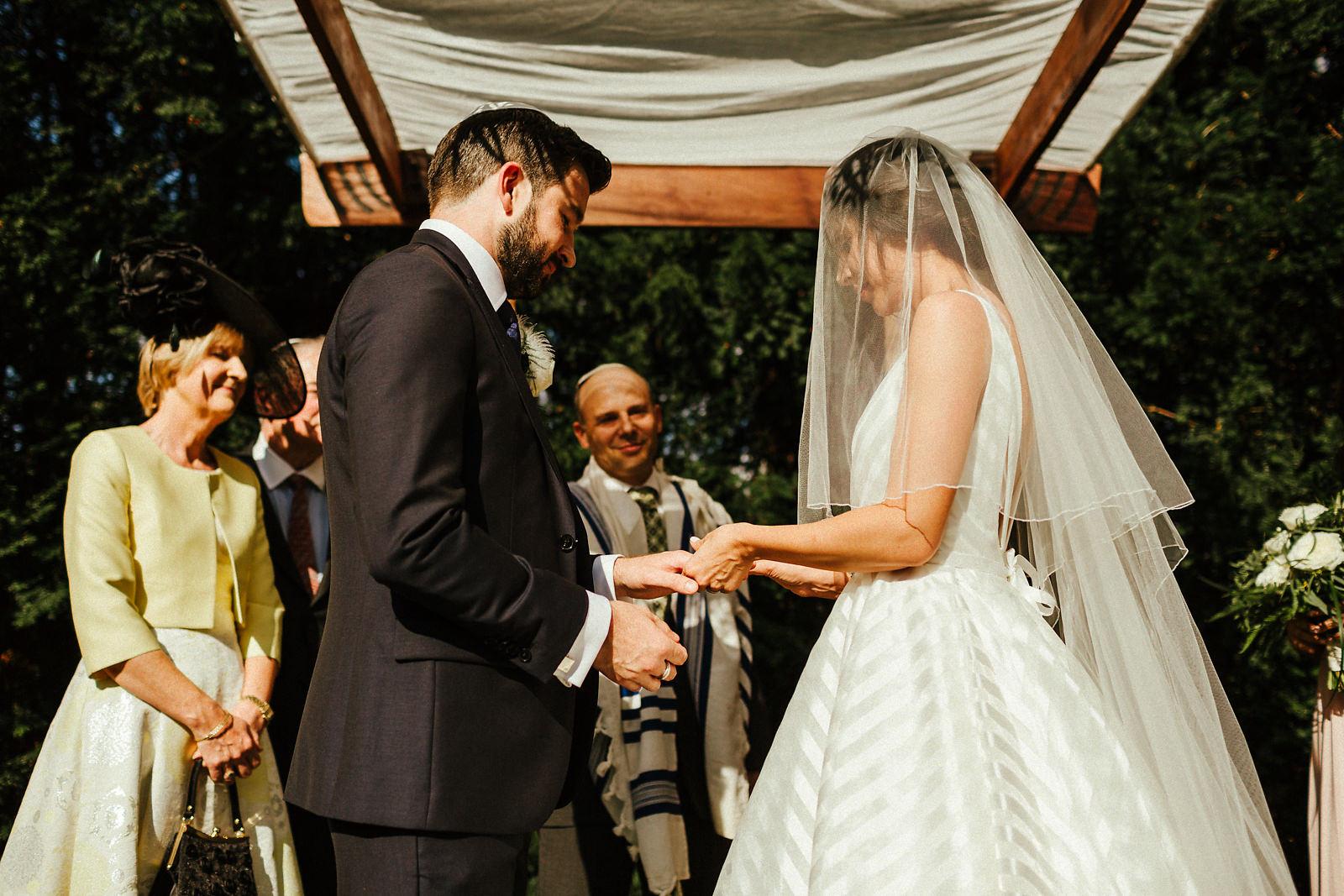 Exchange of rings at Jewish wedding