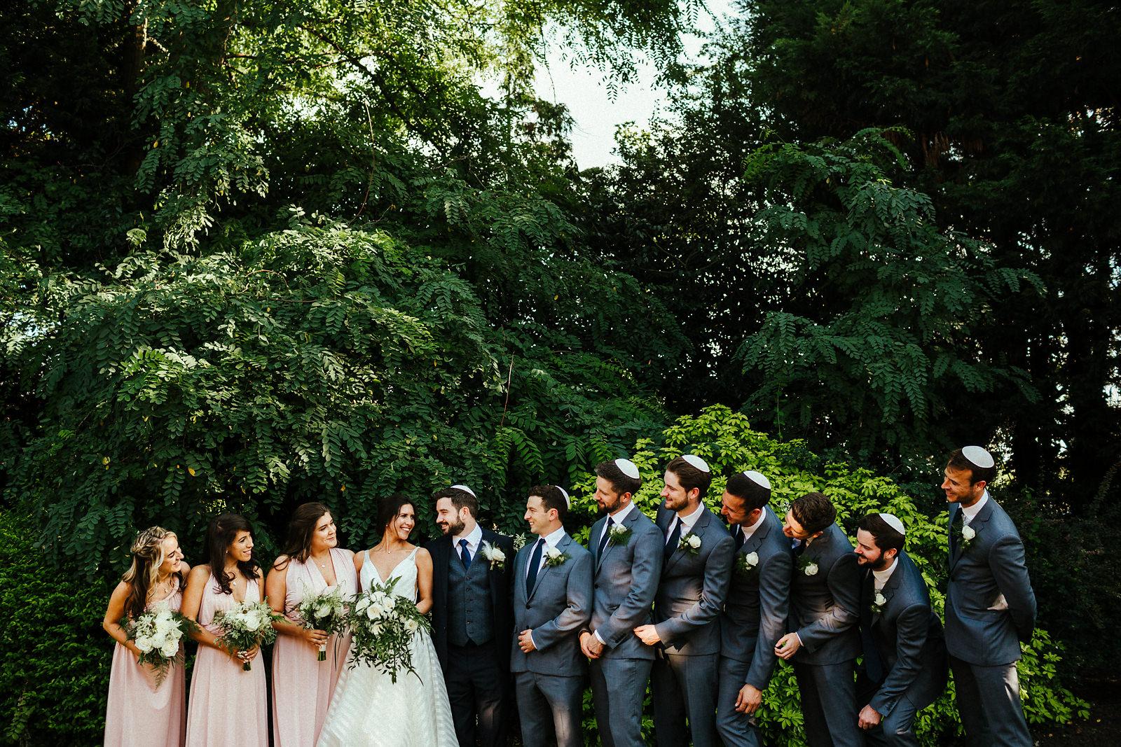 Jewish wedding couple bridal party