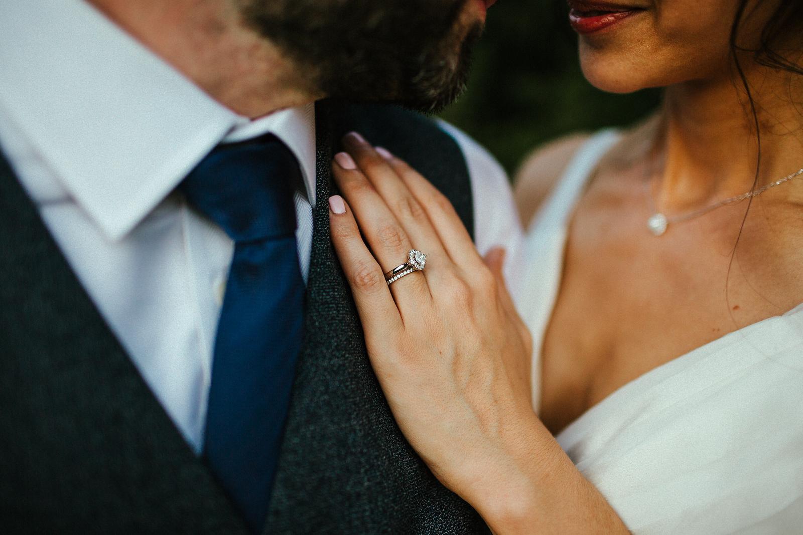 Beautiful wedding ring detail photo