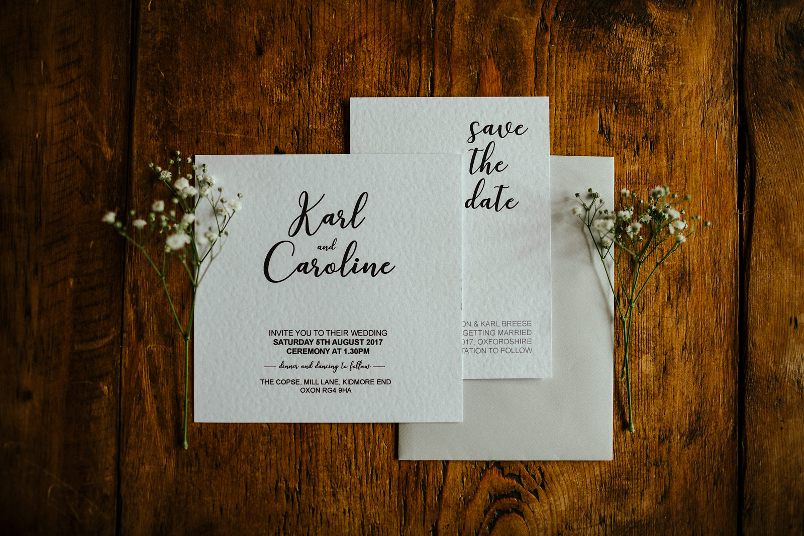 Beautiful black and white wedding invitation