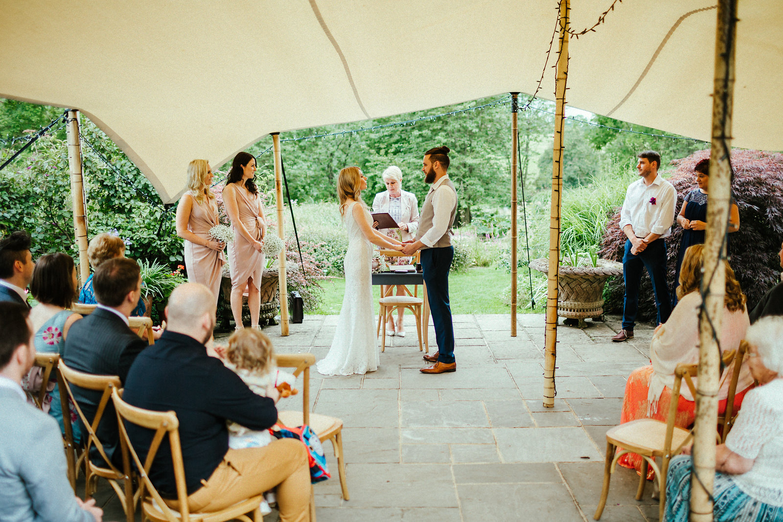 Courtyard wedding ceremony at the Copse