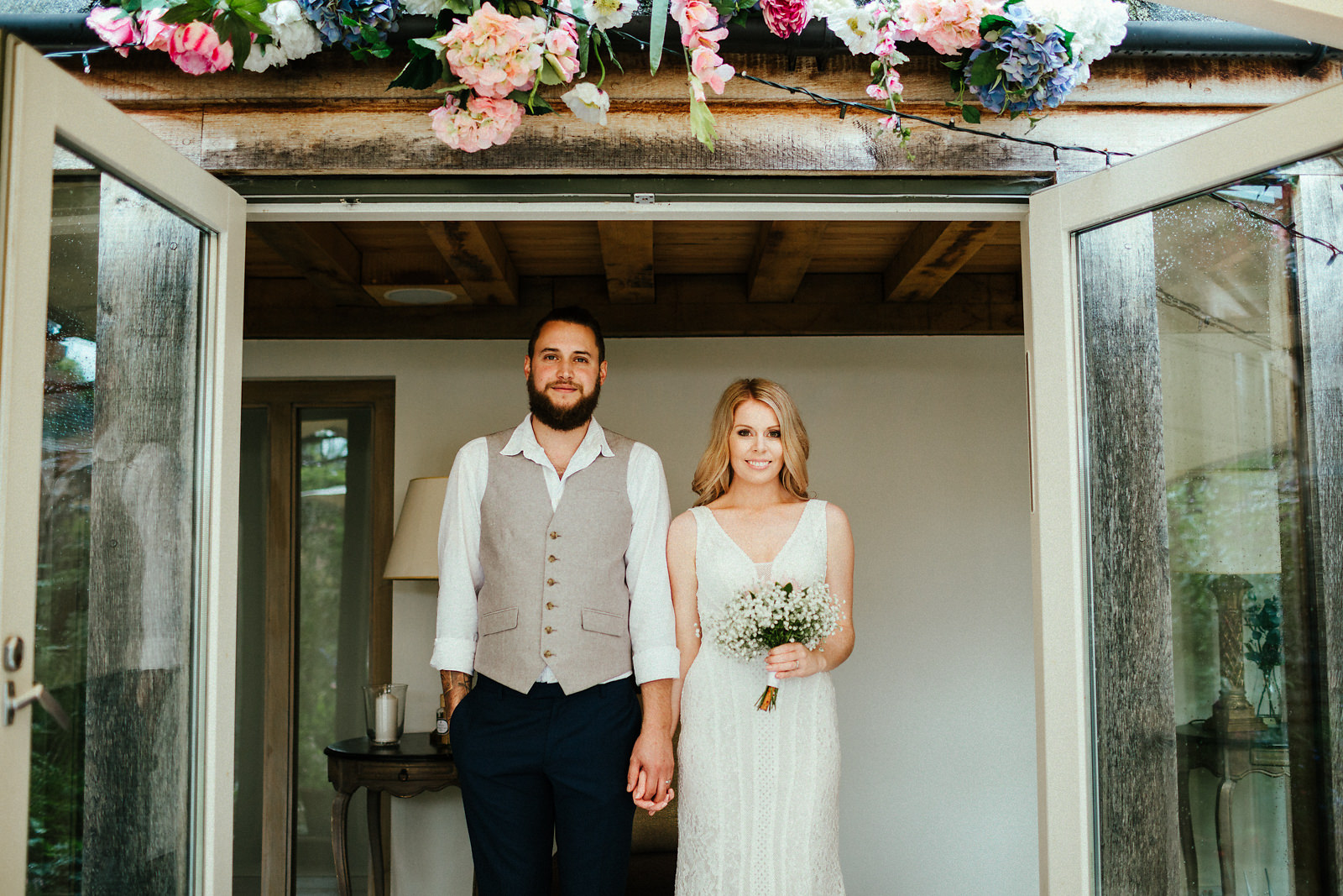 Beautiful newly married couple at the Copse