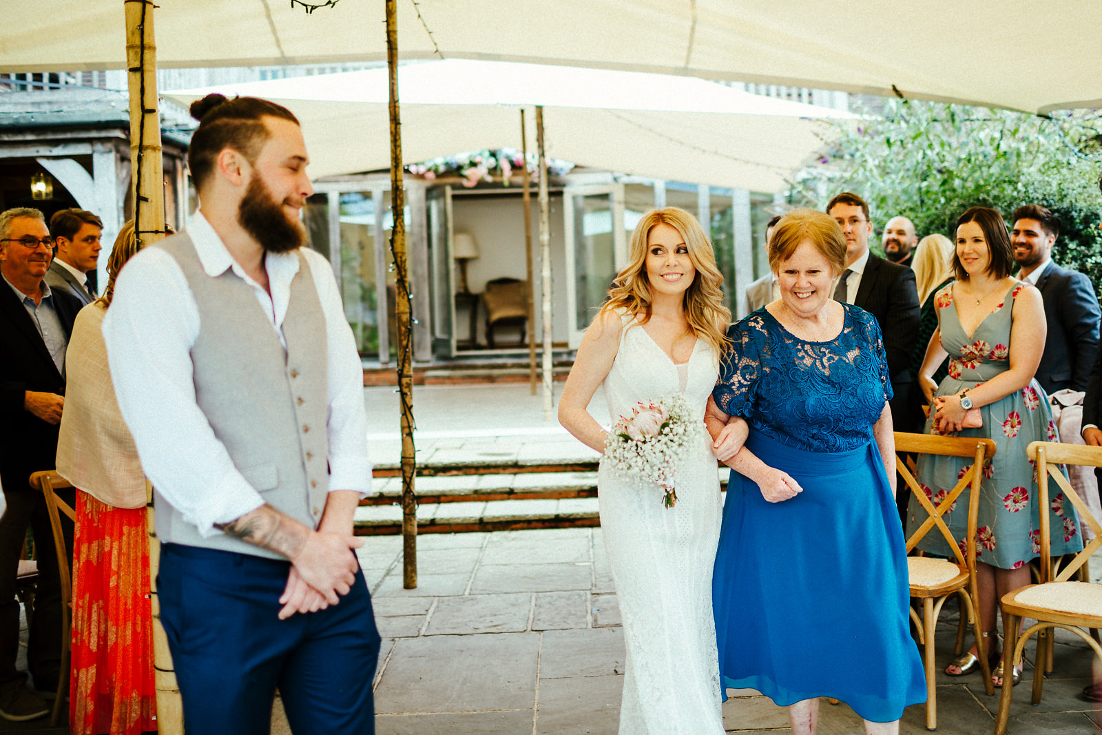 Arrival of the bride at the Copse wedding venue