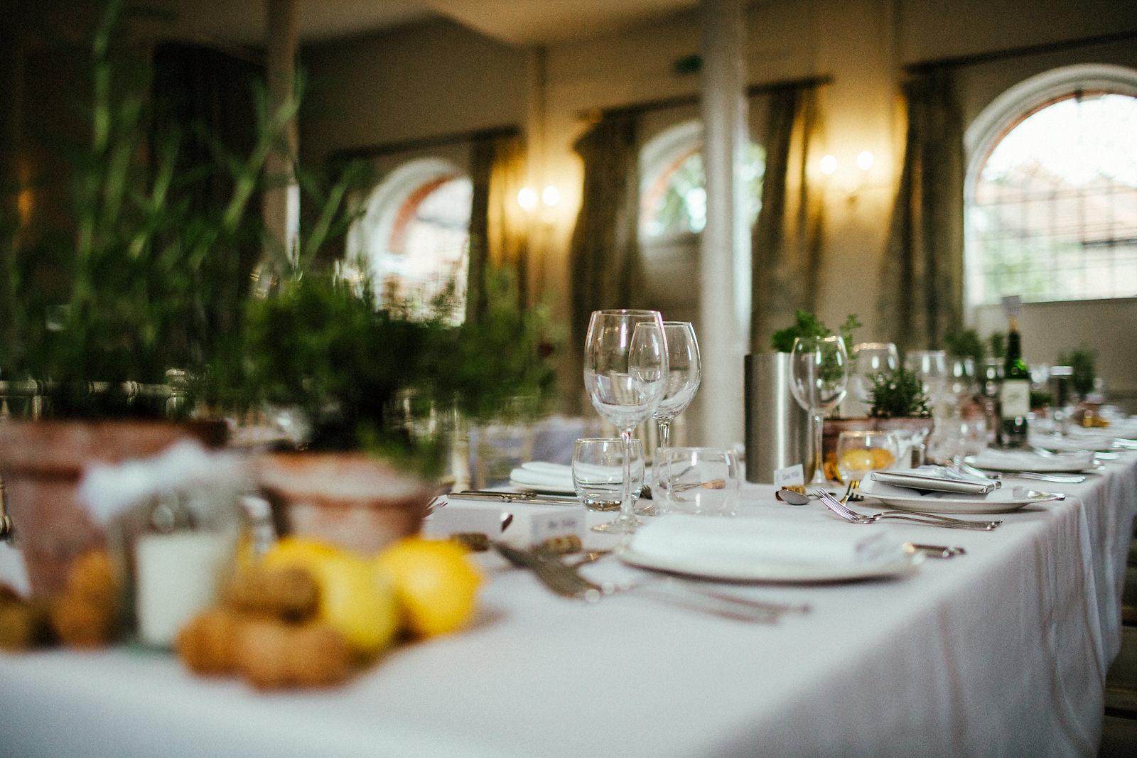 Italian style wedding table decorations