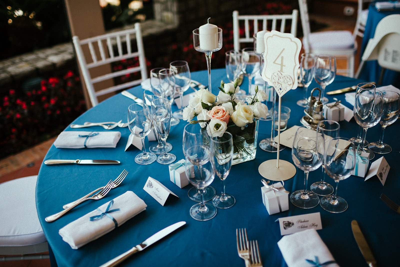 Sea blue wedding table cloth