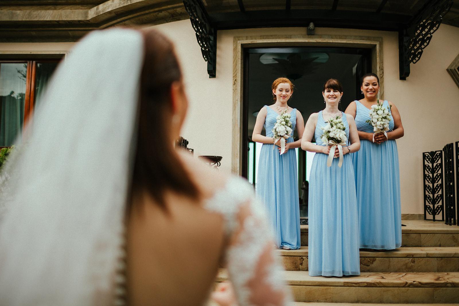 Bride ready to walk down the aisle in Italian villa