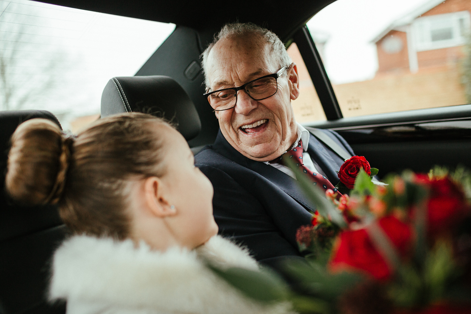 Granbad and granddaughter on the way to the wedding