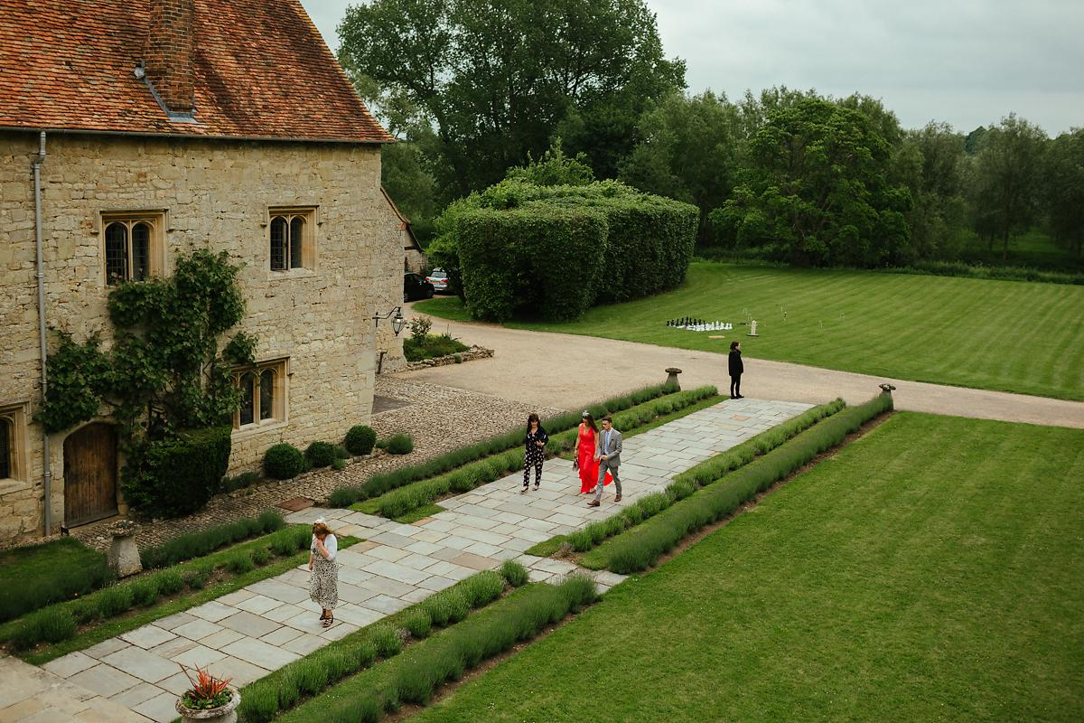 Wedding guests arriving at Notely Abbey