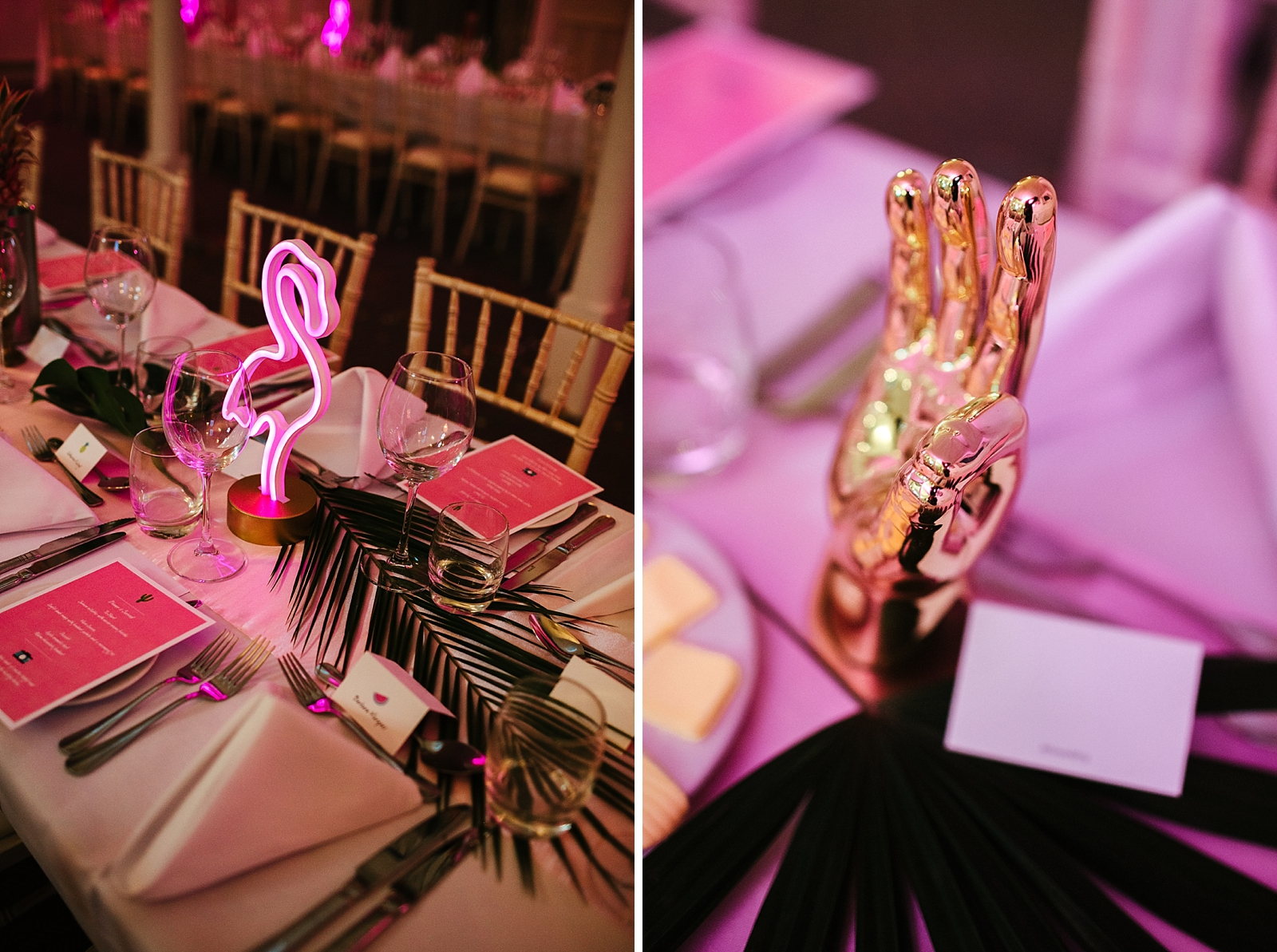 Tropical Glam pink wedding table decorations photo