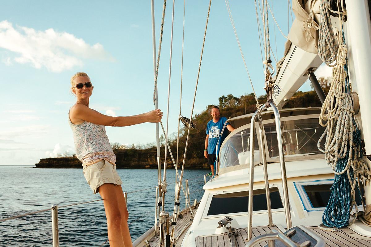 Kim and Simon on sailing boat Britican