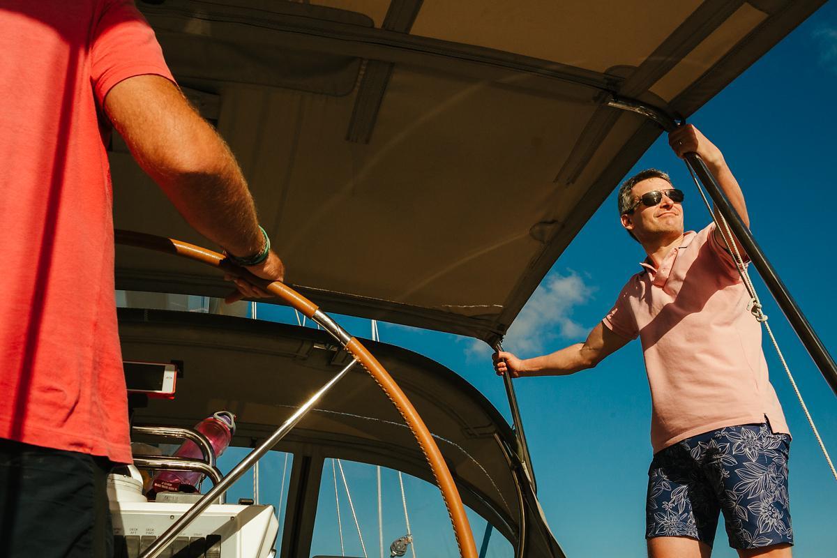 Photo shoot on sailing boat