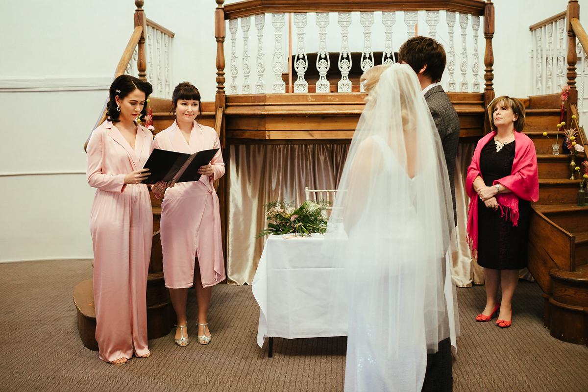 Pink one piece bridesmaids outfits