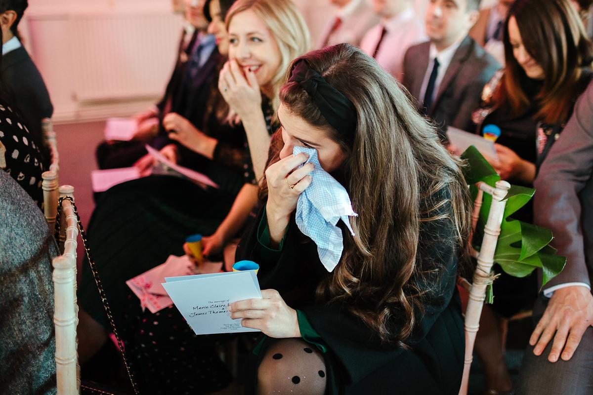 Emotional wedding guest Kings Chapel