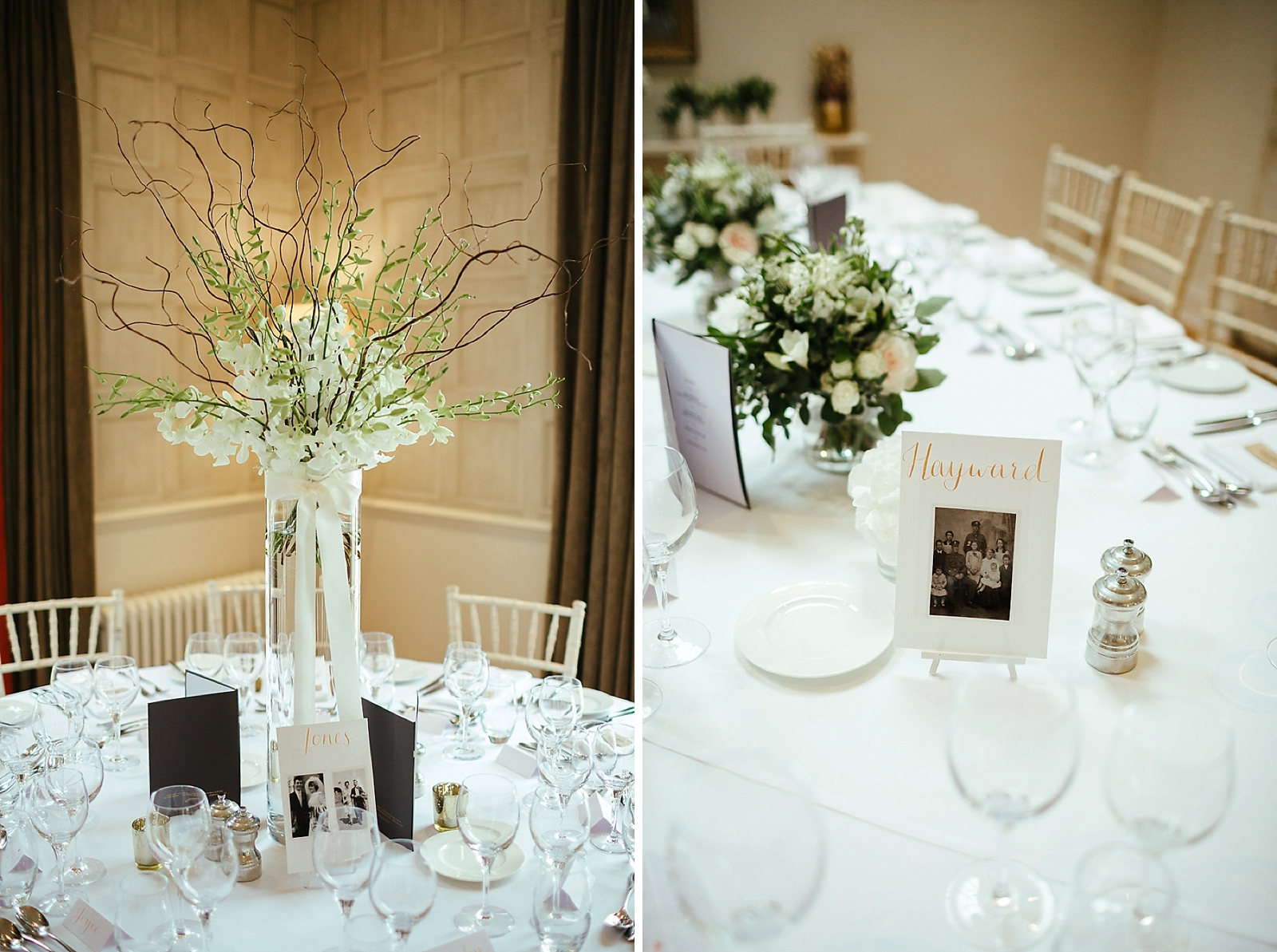 Wedding table decorations Slaughters Manor House