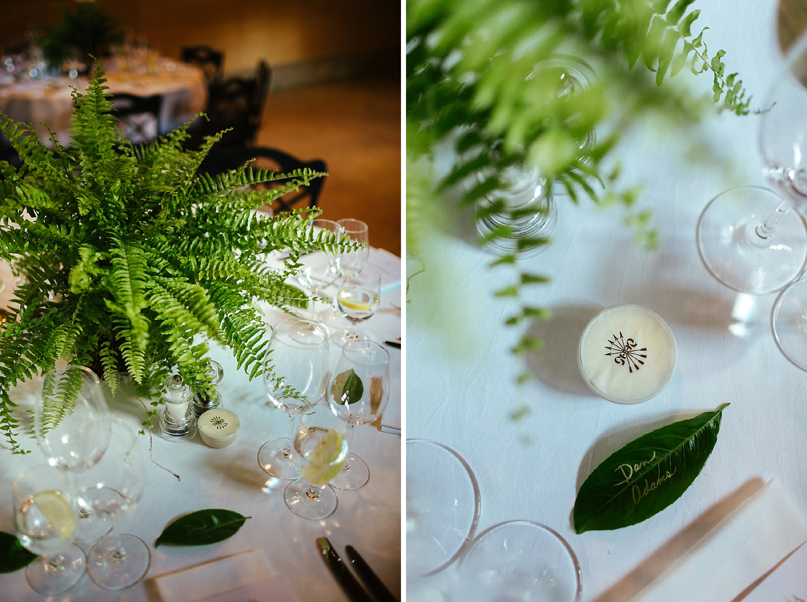 Green Foliage wedding table decoration